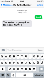 How to boot linux via sms and Twilio view from iPhone