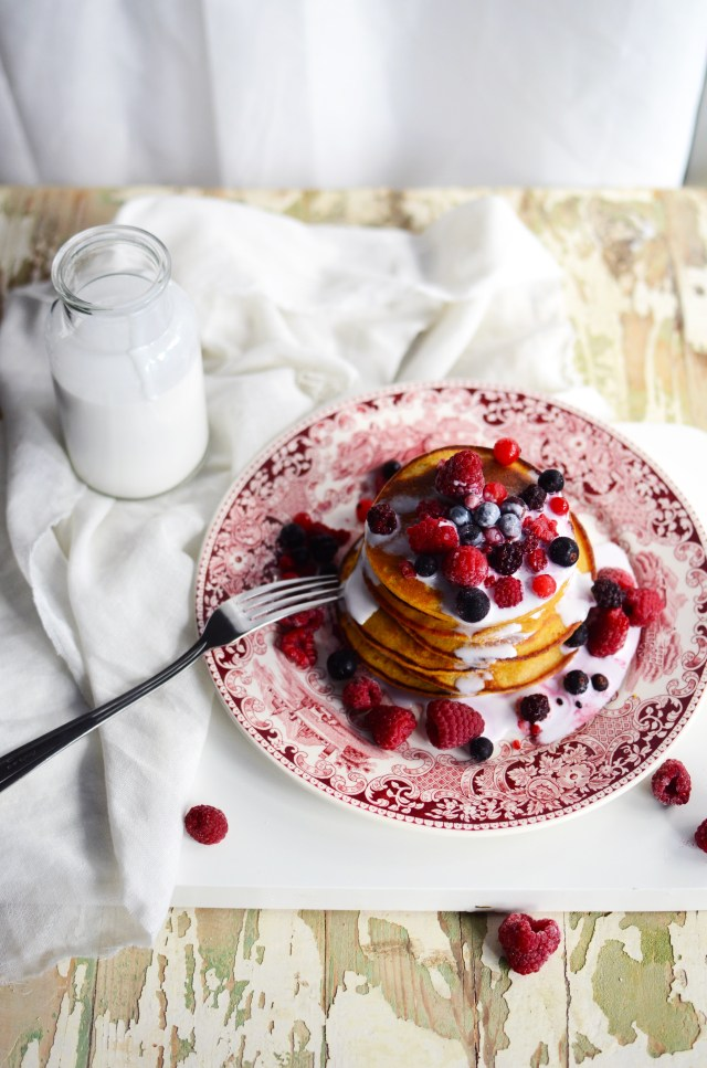 Sweet Potato Pancakes with Berries and Coconut Cream