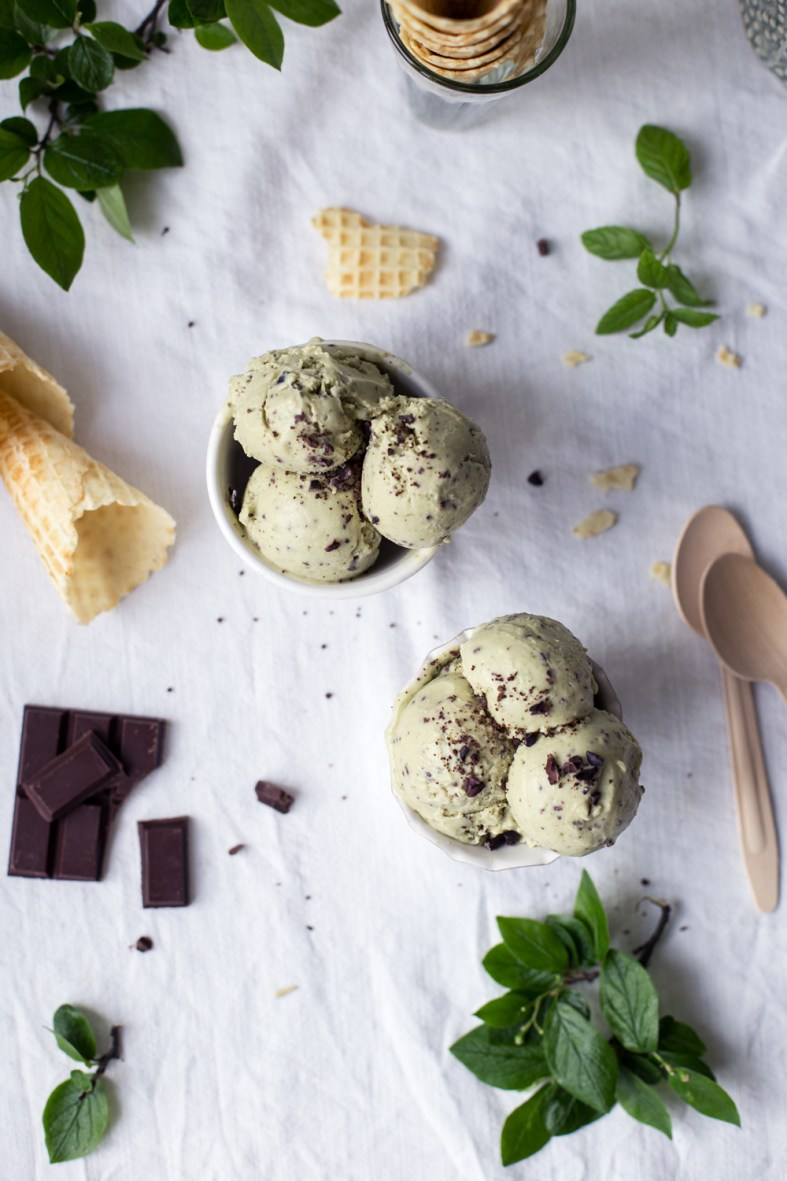 Vegan Avocado Mint Chocolate Chip Ice Cream