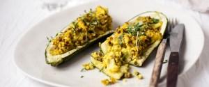 Stuffed Zucchini Boats w/ Turmeric Millet & Lentils