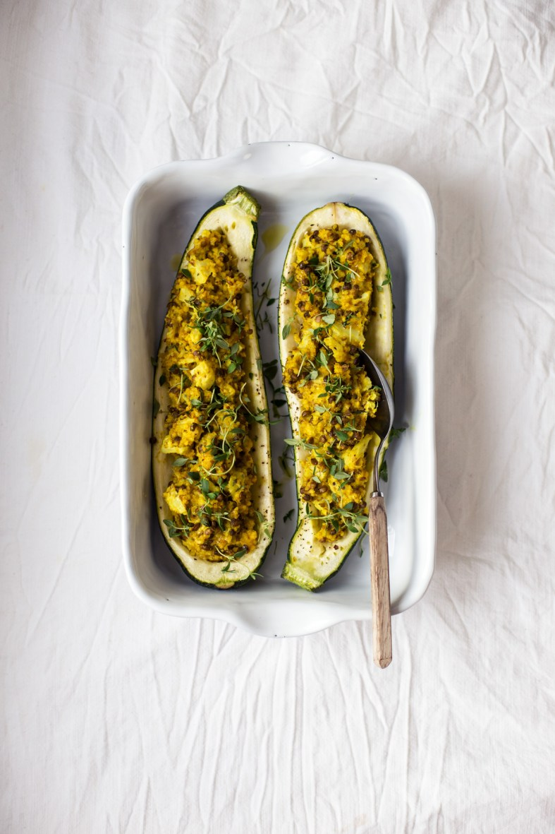 Stuffed Zucchini Boats w/ Turmeric Millet & Lentils | tuulia blog