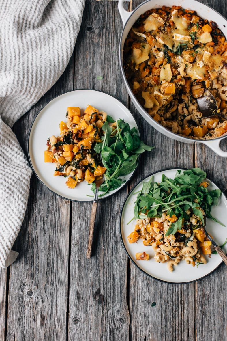 Chickpea Pasta Bake w/ Pumpkin, Spinach & Goat Cheese | tuulia blog
