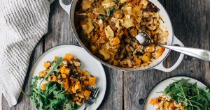 Chickpea Pasta Bake w/ Pumpkin, Spinach & Goat Cheese