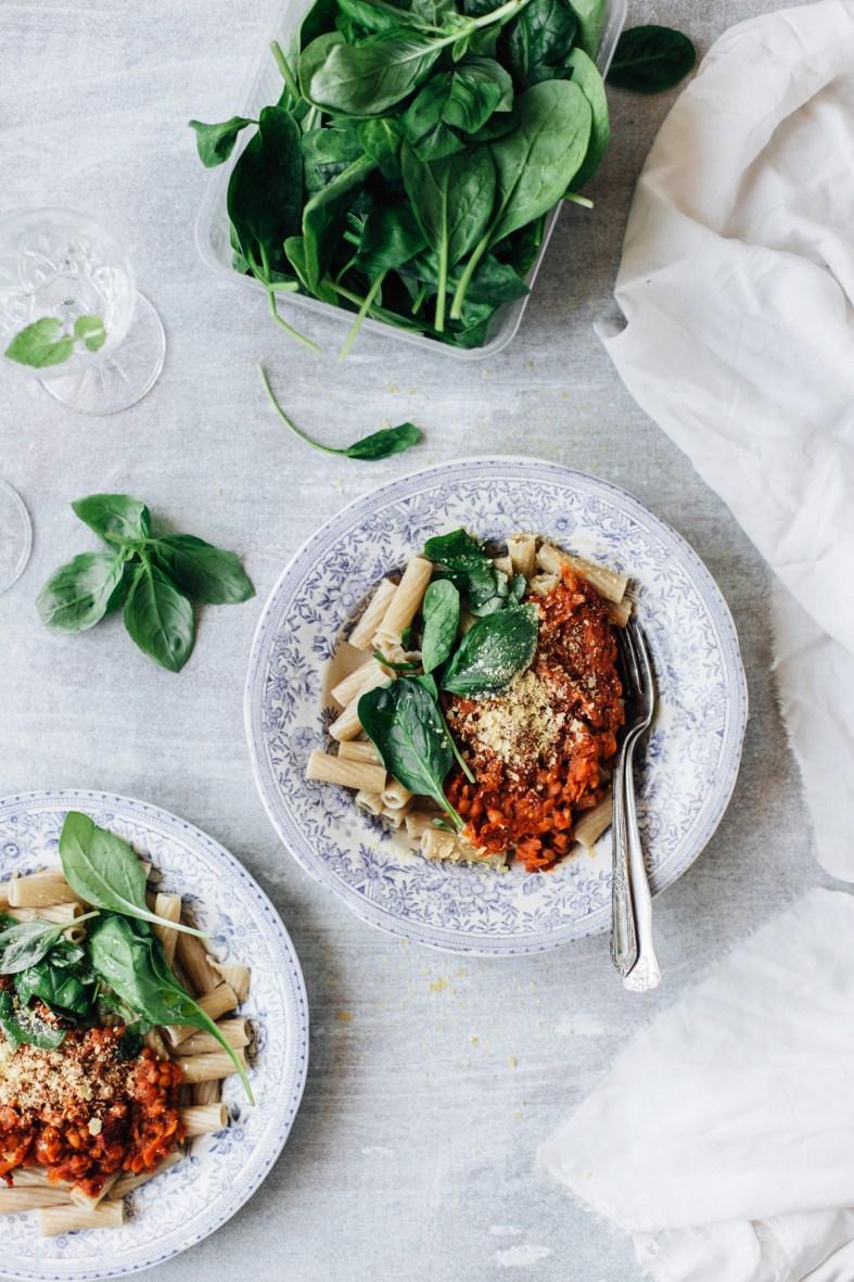 Creamy Vegan Lentil Bolognese | tuulia blog