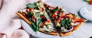 Super Veggie Pizza w/ Sweet Potato Crust