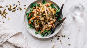 Moroccan Chickpea Salad w/ Turmeric Spiced Toasted Seeds