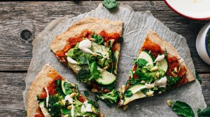 Chia Pizza w/ Cashew Cheese & Avocado Pesto (GF + V)