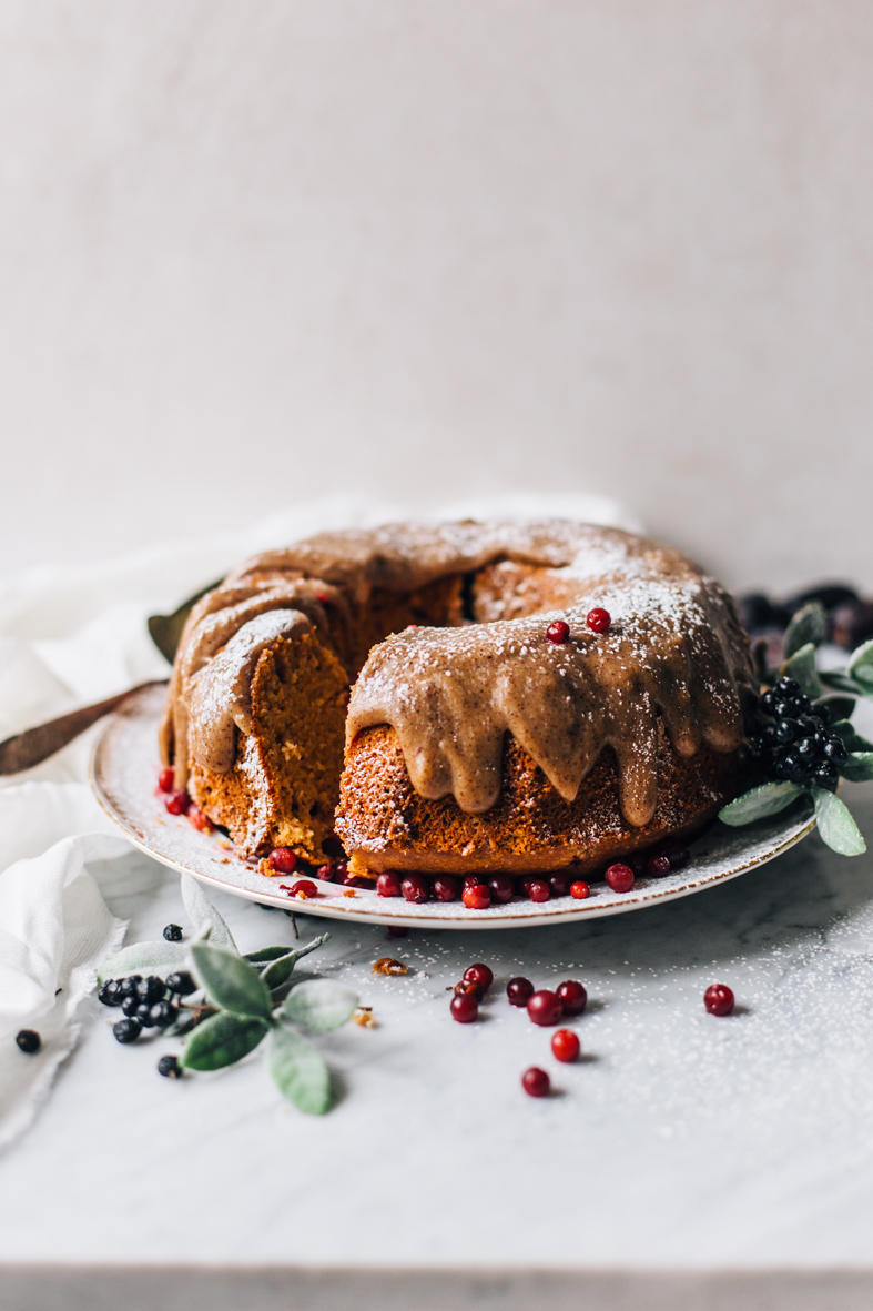 Lingonberry & Coconut Bundt Cake w/ Caramel Frosting (gluten-free + naturally sweetened) | tuulia blog