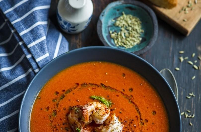 Röstitud fenkoli supp fenkoliseemneõli ja krevettidega