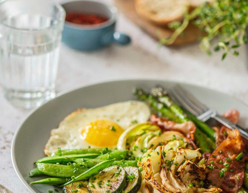 Lihtne hommikune (või lõunane/õhtune) pannitäis muna, peekoni  ja köögiviljadega