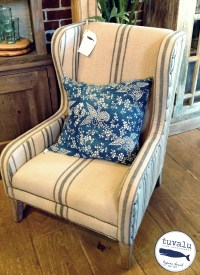 burlap wing chair | Tuvalu Home