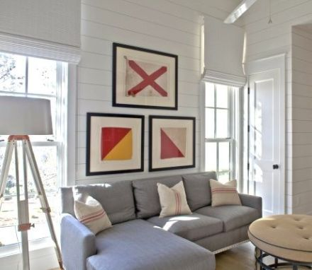 Nautical flags framed in the living room