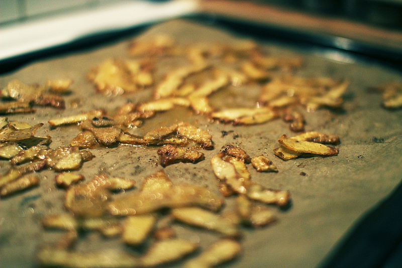 potatischips på potatisskal