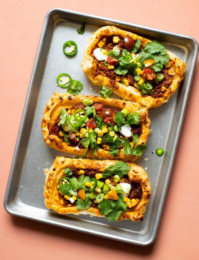 Smördegspajer med tacofyllning