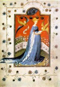 Attēlā 15. gs manuskripta ilustrācija - lasošā Jaunava Marija slēgtajā dārzā.
