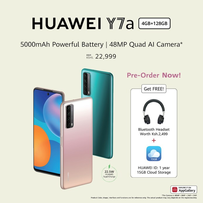 Huawei Y7a goes on preorder in Kenya with a free Bluetooth headset and free 1 year 15 cloud storage