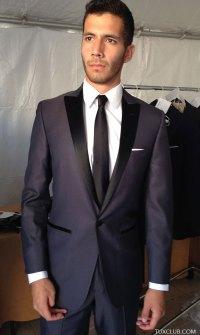 Sharkskin Slim Cut with Black Skinny Dress Tie | Tux Shop ...