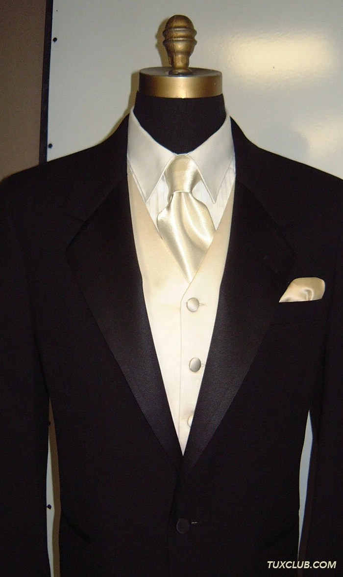 Black Suit And Gold Tie