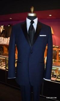 Navy Blue Tuxedo with Black Satin Dress Tie   Tux Shop ...