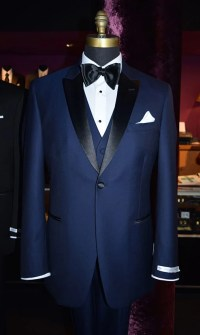 Navy Blue Tuxedo with Matching Vest and Black Satin Bow ...