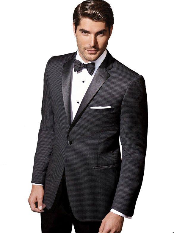 Ashton Dinner Jacket Black and grey checked one button notch lapel tuxedo