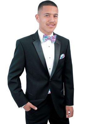 Black Connor tuxedo shown with fuchsia plaid bow tie