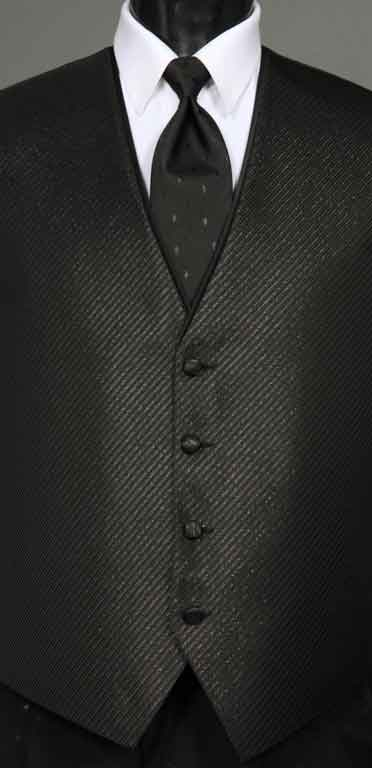 Black Metallic Synergy Vest with Diamond Metallic Windsor Tie