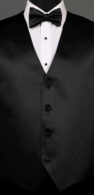 Black simply solid vest with matching bow tie