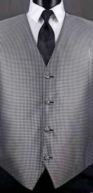 Black & White Devon Vest with solid black Windsor tie
