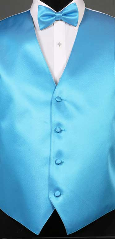 Blue Ice simply solid vest with matching bow tie