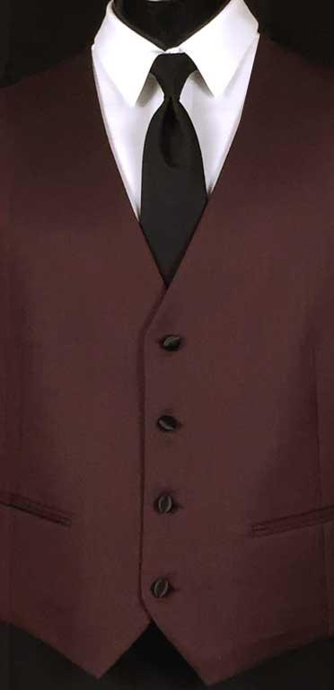 Burgundy Marbella Vest with black Windsor tie