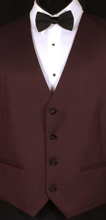 Burgundy-Marbella-Vest with black bow tie