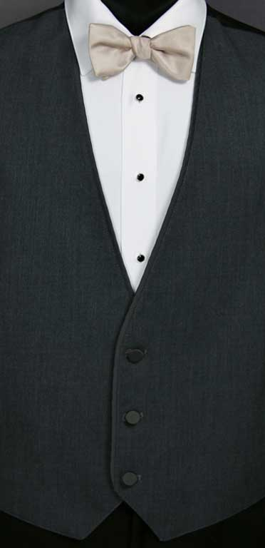 Charcoal Bartlett Vest with Biscotti Bow Tie