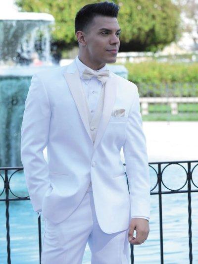 White tuxedo with ivory satin lapels