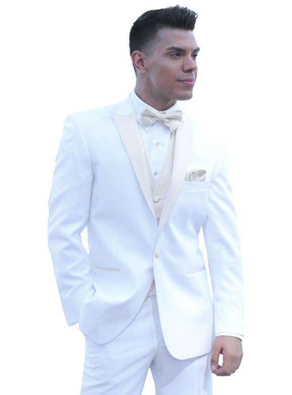 Diamond White Portofino tuxedo with ivory satin lapels