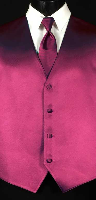 Fuchsia Simply Solid Vest with matching Windsor tie