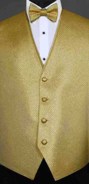 Gold Metallic Synergy Vest with matching bow Tie
