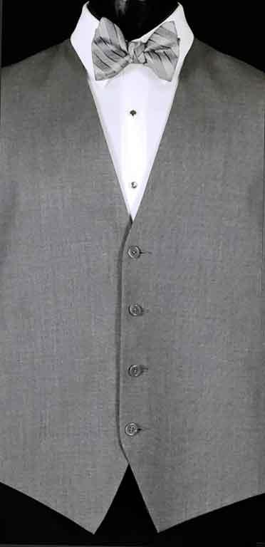 Grey Valencia Vest with Heather Grey Striped Bow Tie
