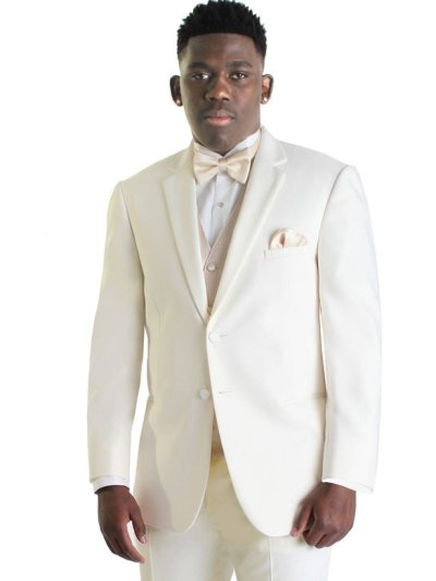 The Ivory Tuxedo by Jean Yves in a 2 button notch lapel