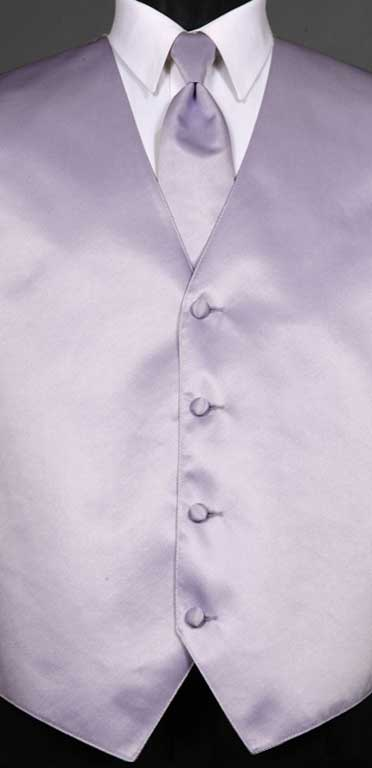 Lilac simply solid vest with matching Windsor tie