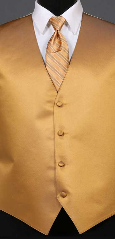 Midas Gold simply solid vest with Midas Gold Multi-Stripe Windsor tie