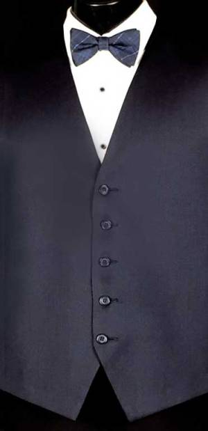 Navy Valencia Vest with Michael Kors Navy Plaid Bow Tie