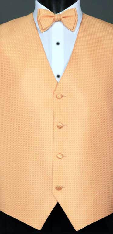 Peach Devon vest with matching bow tie