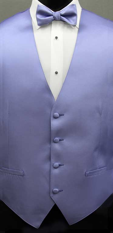 Periwinkle simply solid vest with matching bow tie