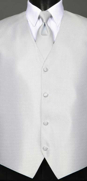 Silver Devon vest with Silver Windsor tie