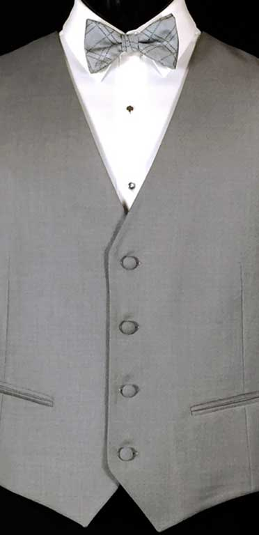 Stone Grey Brooklyn Suit Vest by Ike Behar in Super 120's Wool. Shown with Michael Kors Stone Grey Plaid bow tie.