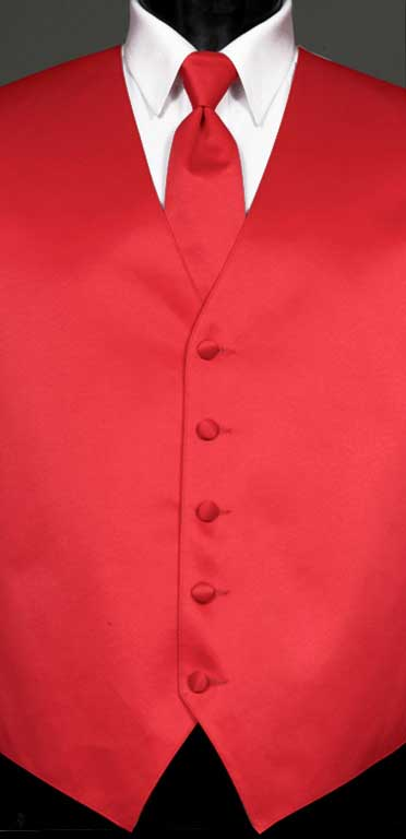 Strawberry Simply Solid Vest with Matching Windsor Tie