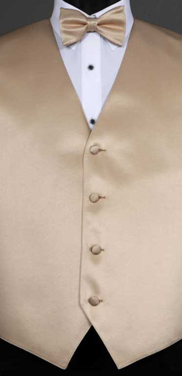 Taupe simply solid vest with matching bow tie