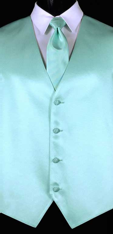 Tiffany Blue simple solid vest with matching Windsor tie