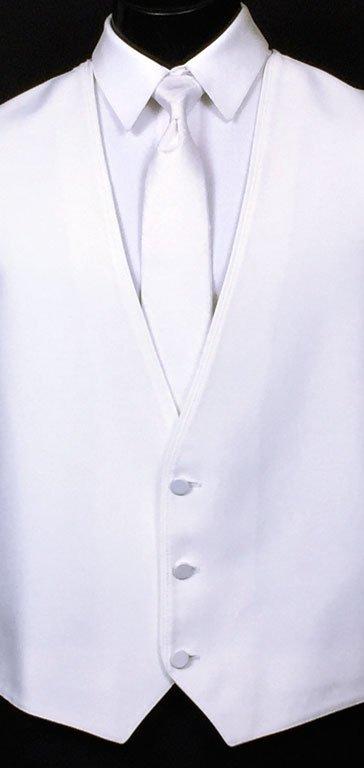 White Bartlett Vest Shown with White Satin Windsor Tie.